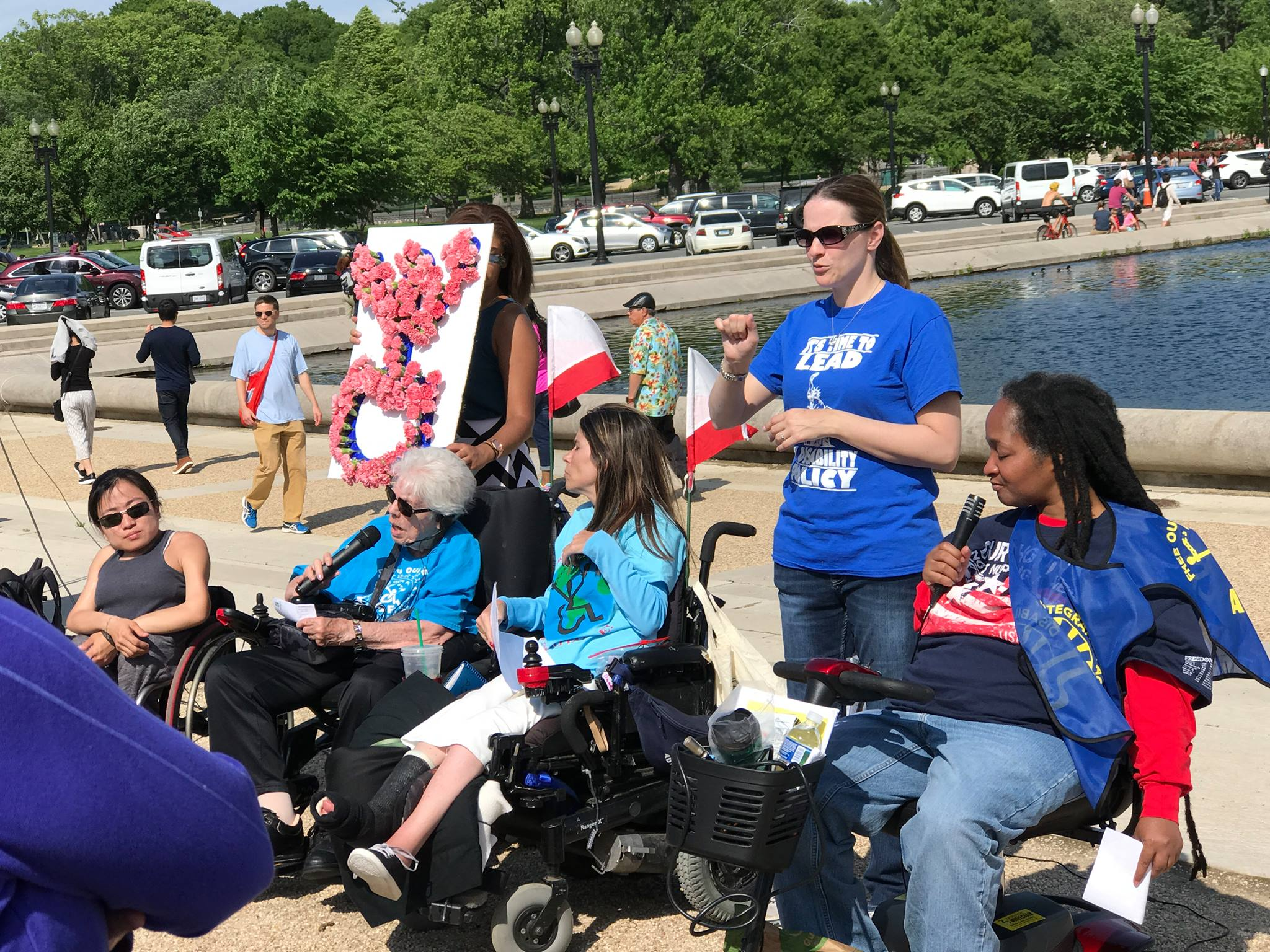 DRAC members are gathered outside the Reflection Pool in Washington DC
