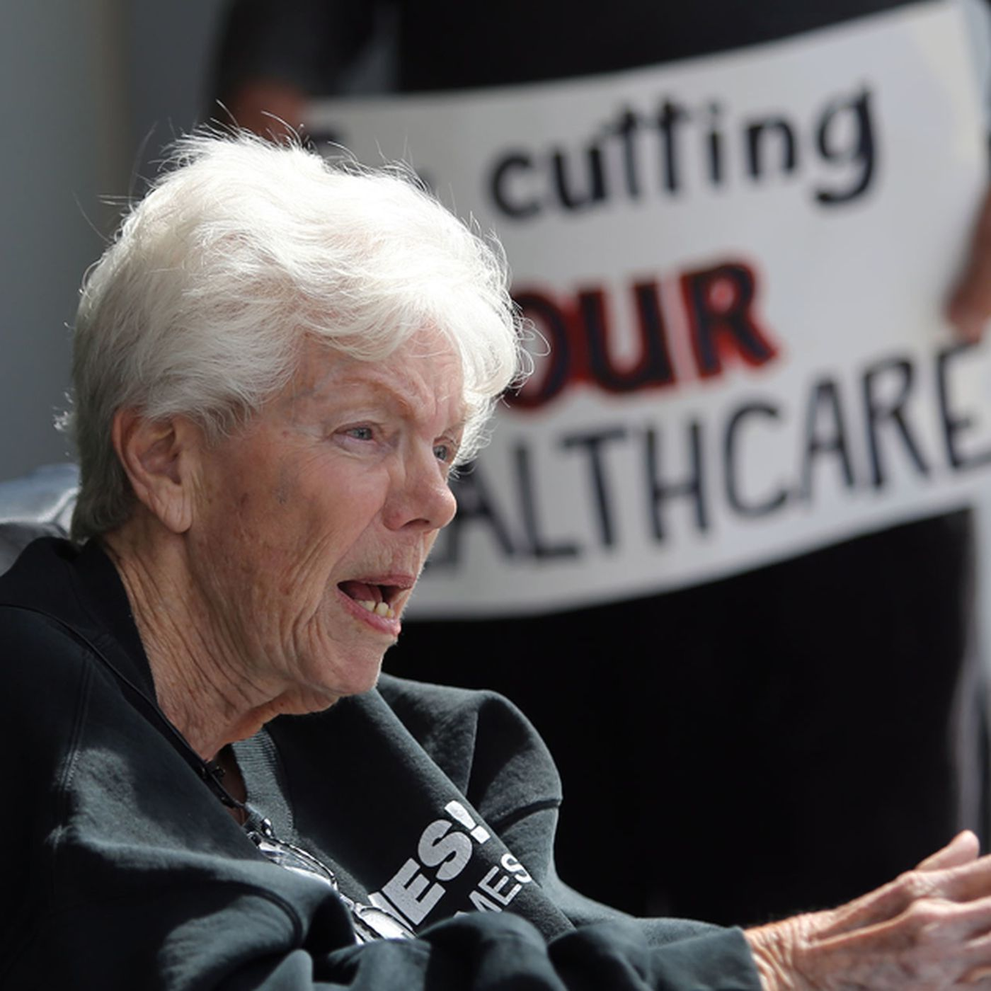 Barbara Toomer speaking at rally